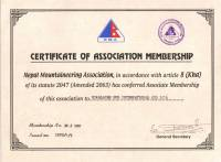 Certificate of Nepal Mountaineering Association of Nepal  » Click to zoom ->